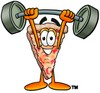 Cartoon Pizza Character Weightlifting clipart