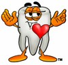 Cartoon Tooth Character with a Heart clipart