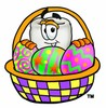 Cartoon Tooth Character with Easter Egg Basket clipart