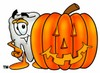 Cartoon Tooth Character Beside Halloween Pumpkin clipart