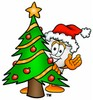Cartoon Tooth Character Beside a Christmas Tree clipart