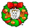Cartoon Tooth Character with a Christmas Wreath clipart