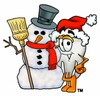Cartoon Tooth Character Beside a Snowman clipart