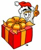 Cartoon Tooth Character with a Christmas Present clipart