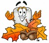 Cartoon Tooth Character with Fall Leaves and Acorns clipart