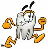 Cartoon Tooth Character Running clipart