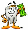 Cartoon Tooth Character with Money clipart