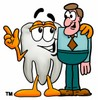 Cartoon Tooth Character Beside a Businessman clipart