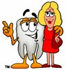 Cartoon Tooth Character Beside a Businesswoman clipart