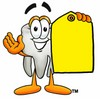 Cartoon Tooth Character Holding a Blank Price Tag clipart