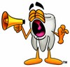 Cartoon Tooth Character Yelling at a Megaphone clipart