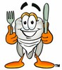 Cartoon Tooth Character with Silverware and Bib clipart