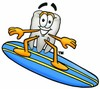 Cartoon Tooth Character Surfing clipart