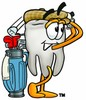 Cartoon Tooth Character Golfing clipart