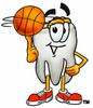 Cartoon Tooth Character Playing Basketball clipart