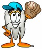 Cartoon Tooth Character Playing Baseball clipart
