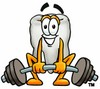 Cartoon Tooth Character Lifting Weights clipart