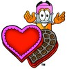 Cartoon Pencil Character with Valentine