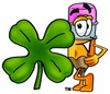 Cartoon Pencil Character Standing Beside a Lucky Four Leaf Clover clipart