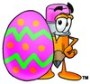 Cartoon Pencil Character Beside an Easter Egg clipart