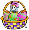 Cartoon Pencil Character with an Easter Egg Basket clipart