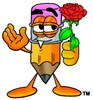 Cartoon Pencil Character Holding a Flower clipart