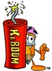 Cartoon Pencil Character with a Bomb clipart