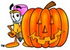 Cartoon Pencil Character Beside a Halloween Pumpkin clipart