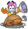 Cartoon Pencil Character Uncovering a Thanksgiving Turkey clipart