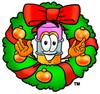 Cartoon Pencil Character in a Christmas Wreath clipart