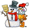 Cartoon Pencil Character with a Christmas Snowman clipart