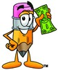 Cartoon Pencil Character Holding Money clipart