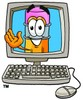 Cartoon Pencil Character Waving from a Computer Monitor clipart