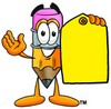 Cartoon Pencil Character Holding a Blank Price Tag clipart