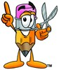Cartoon Pencil Character Holding Scissors and Pointing Up clipart