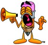 Cartoon Pencil Character Yelling at a Megaphone clipart