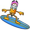 Cartoon Pencil Character Surfing clipart