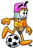 Cartoon Pencil Character Playing Soccer clipart