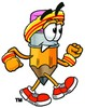 Cartoon Pencil Character Jogging clipart