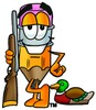 Cartoon Pencil Character Posing with a Bird Hunting Rifle clipart