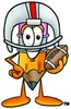 Cartoon Pencil Character Posing with Football Gear clipart