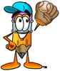 Cartoon Pencil Character Playing Baseball clipart