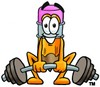 Cartoon Pencil Character Weight Lifting clipart