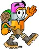 Cartoon Pencil Character Hiking clipart