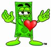 Cartoon Money Character with a Heart clipart