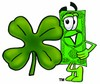Cartoon Money Character Beside a Lucky Four Leaf Clover clipart