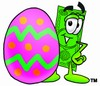 Cartoon Money Character Beside an Easter Egg clipart