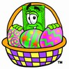 Cartoon Money Character with an Easter Egg Basket clipart