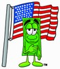 Cartoon Money Character During Pledge of Allegiance clipart