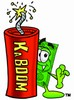 Cartoon Money Character Beside a Dynamite Stick clipart